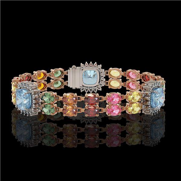 20.67 ctw Sapphire & Diamond Bracelet 14K Rose Gold - REF-289F5M