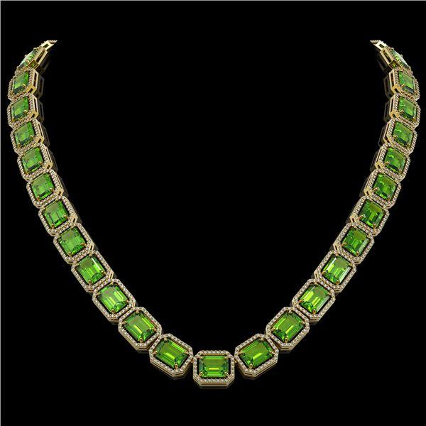 73.41 ctw Peridot & Diamond Micro Pave Halo Necklace 10k Yellow Gold - REF-888G2W