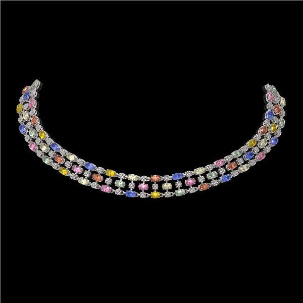 61.73 ctw Multi Color Sapphire & Diamond Necklace 10K White Gold - REF-709M3G