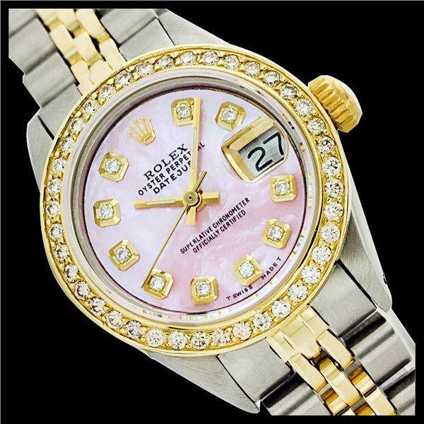 Rolex Men's Two Tone 14K Gold/SS, QuickSet, Diamond Dial, Diam/Ruby Bezel