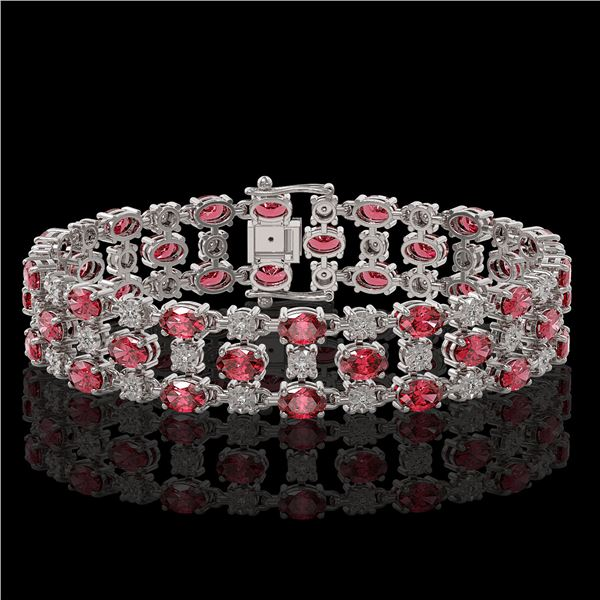 23.12 ctw Tourmaline & Diamond Bracelet 10K White Gold - REF-354H5R