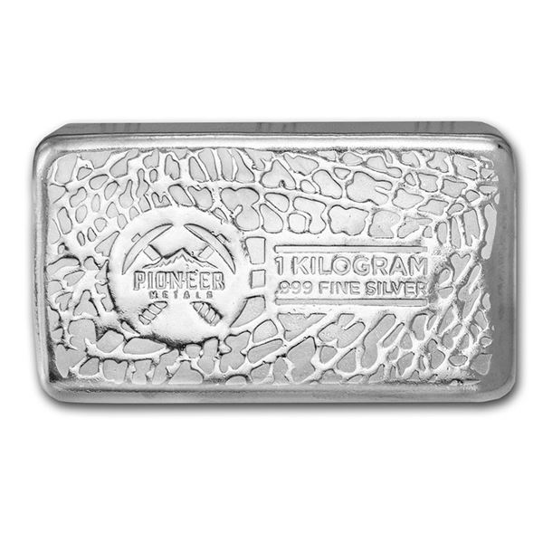 One piece 1 kilo 0.999 Fine Silver Bar Pioneer Metals - 212423