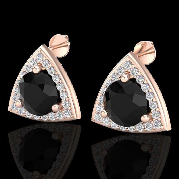 3.50 ctw Micro Pave Black Diamond Stud Earrings 14k Rose Gold - REF-136R4K