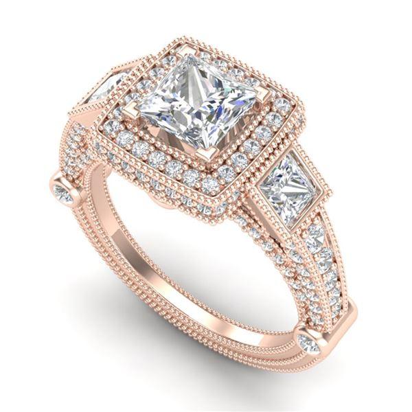 3 ctw Princess VS/SI Diamond Art Deco 3 Stone Ring 18k Rose Gold - REF-563K6Y