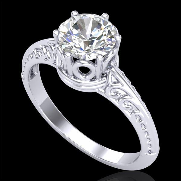 1 ctw VS/SI Diamond Art Deco Ring 18k White Gold - REF-361R8K