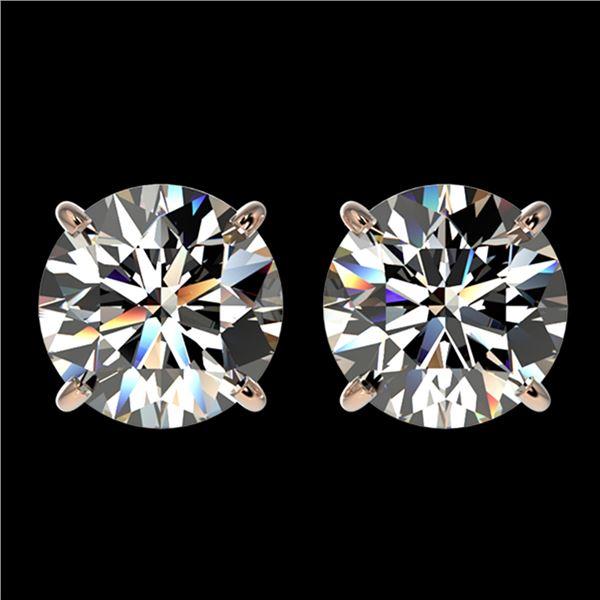 3 ctw Certified Diamond Solitaire Stud Earrings 10k Rose Gold - REF-512H3R