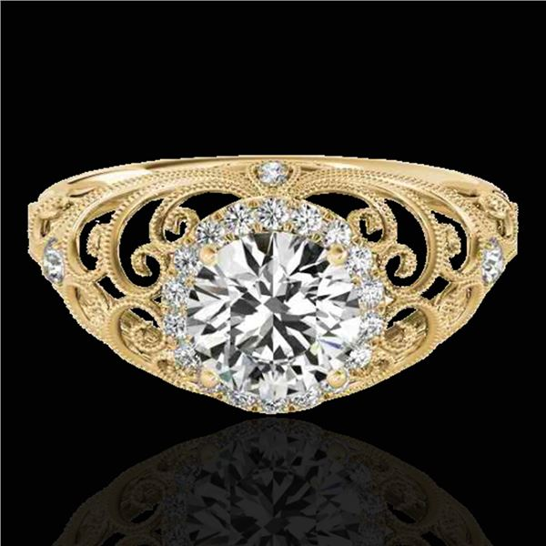 1.22 ctw Certified Diamond Solitaire Halo Ring 10k Yellow Gold - REF-177K3Y