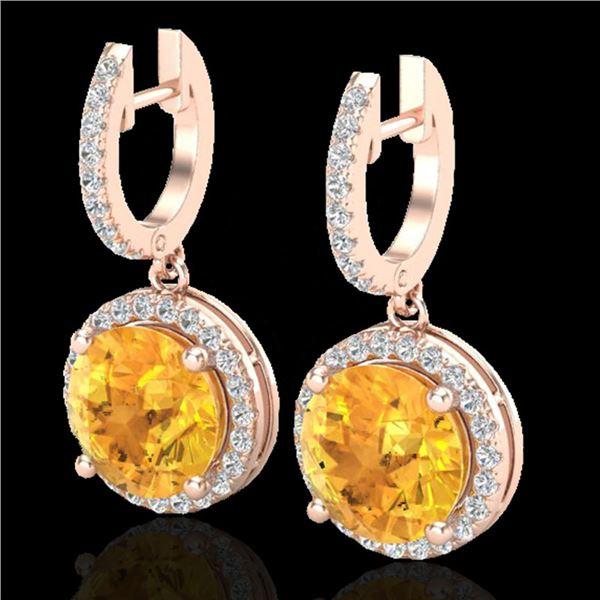 4 ctw Citrine & Micro Pave VS/SI Diamond Designer 14k Rose Gold - REF-72N8F
