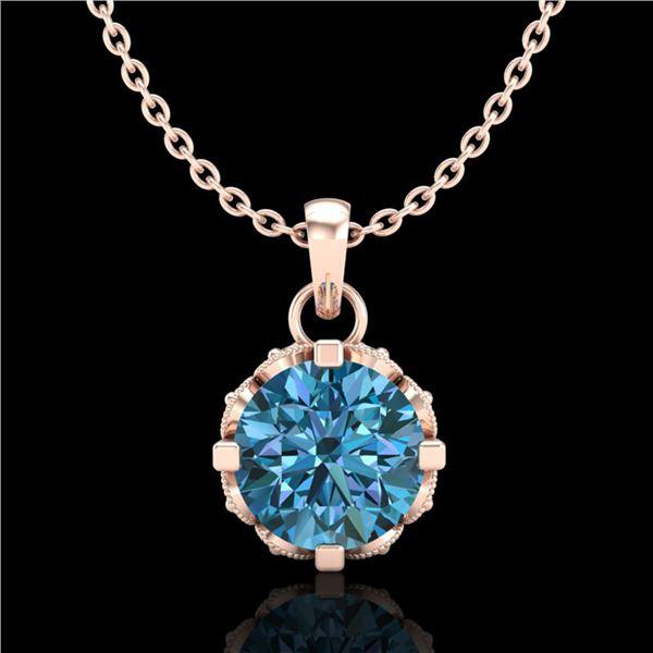 0.85 ctw Fancy Intense Blue Diamond Art Deco Necklace 18k Rose Gold - REF-90A9N