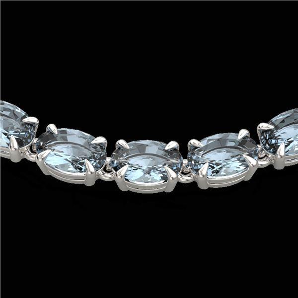 29 ctw Aquamarine Eternity Tennis Necklace 14k White Gold - REF-276F2M