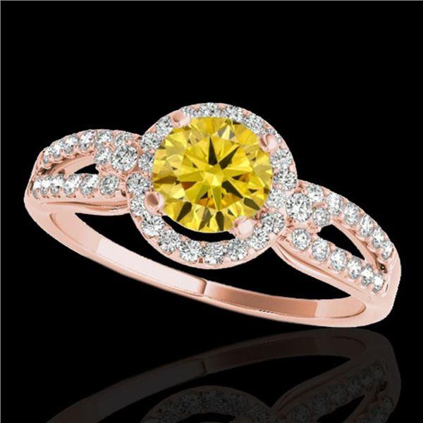 1.25 ctw Certified SI/I Fancy Intense Yellow Diamond Ring 10k Rose Gold - REF-190N9F