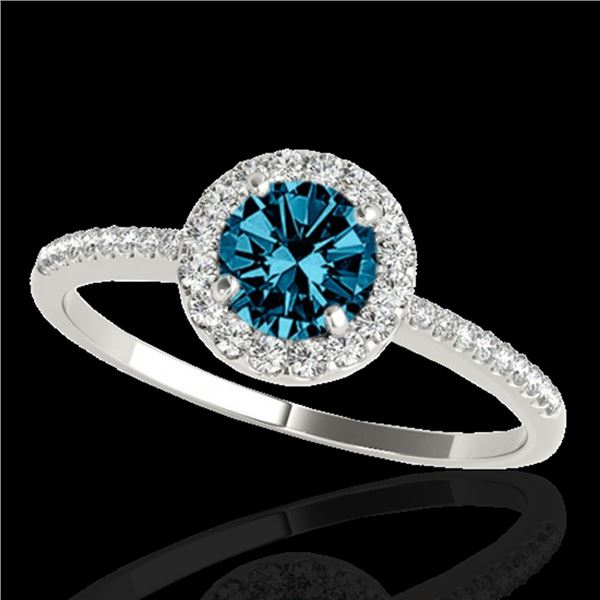 1.2 ctw SI Certified Fancy Blue Diamond Solitaire Halo Ring 10k White Gold - REF-122Y8X