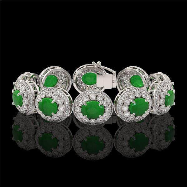 44.77 ctw Jade & Diamond Victorian Bracelet 14K White Gold - REF-1184N2F
