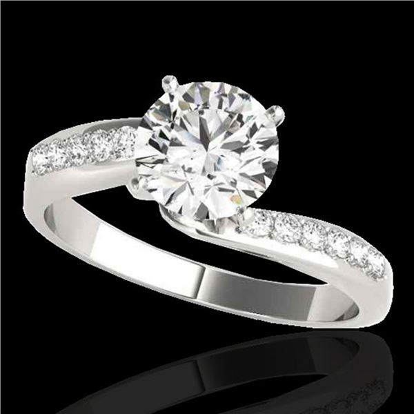 1.4 ctw Certified Diamond Bypass Solitaire Ring 10k White Gold - REF-259Y3X