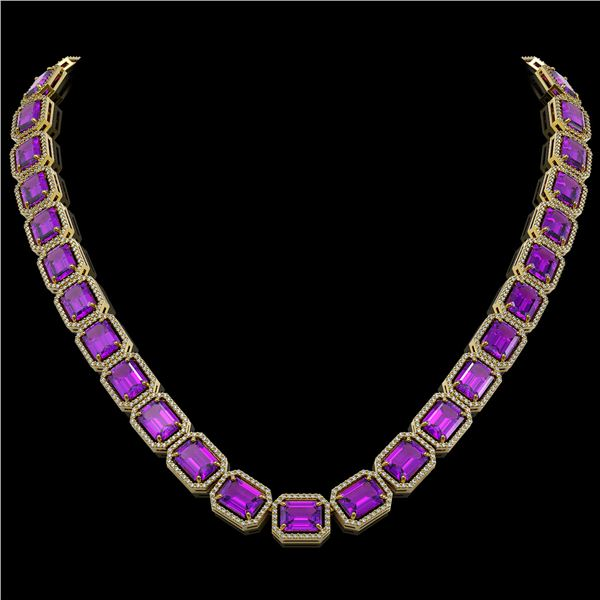 76.69 ctw Amethyst & Diamond Micro Pave Halo Necklace 10k Yellow Gold - REF-711G3W