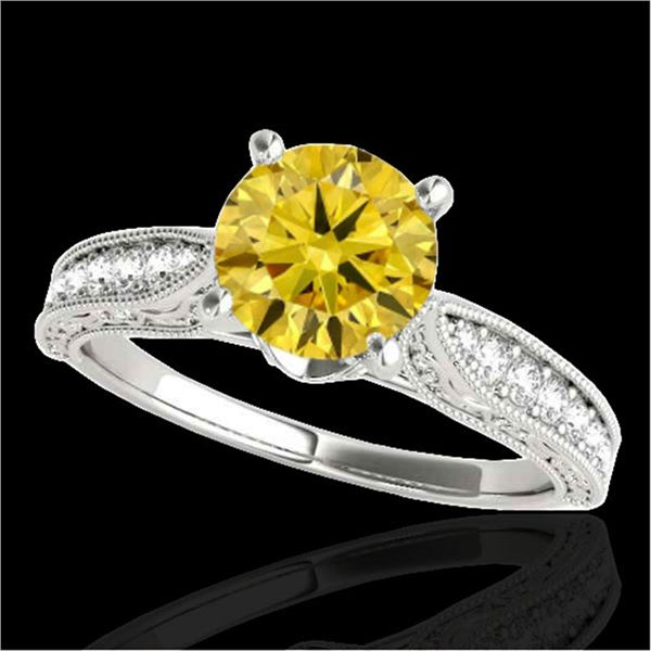 1.5 ctw Certified SI Intense Yellow Diamond Antique Ring 10k White Gold - REF-259G3W