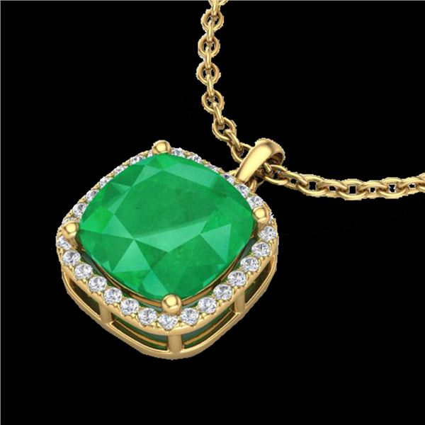 6 ctw Emerald & Micro Pave Halo VS/SI Diamond Necklace 18k Yellow Gold - REF-103N6F