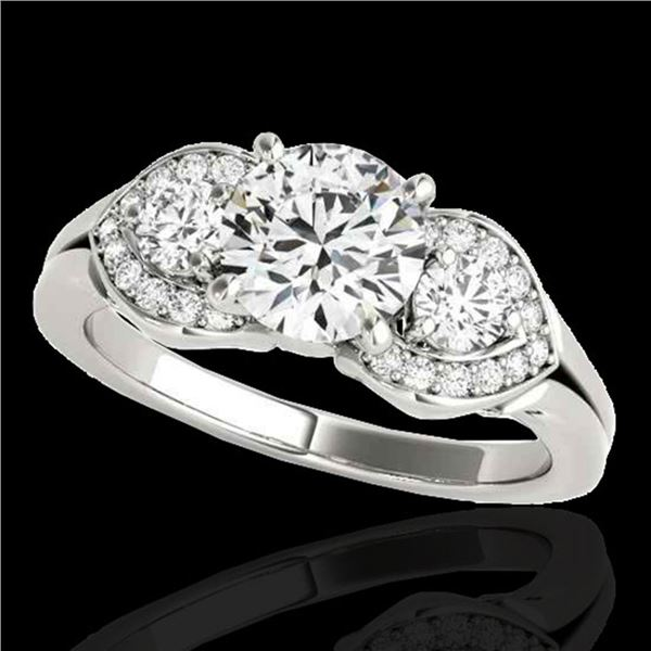1.7 ctw Certified Diamond 3 Stone Ring 10k White Gold - REF-252Y3X