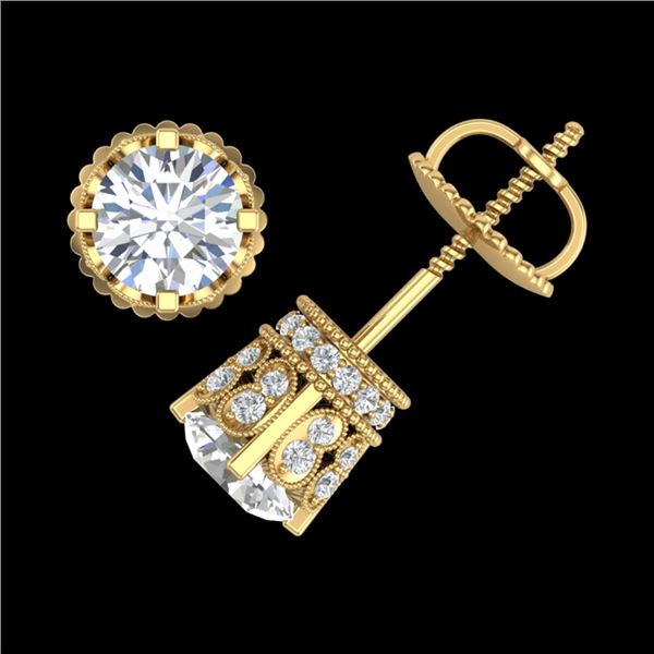 3 ctw VS/SI Diamond Solitaire Art Deco Stud Earrings 18k Yellow Gold - REF-584X3A