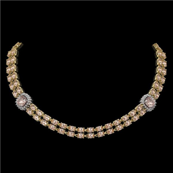 37.49 ctw Morganite & Diamond Necklace 14K Yellow Gold - REF-527N3F