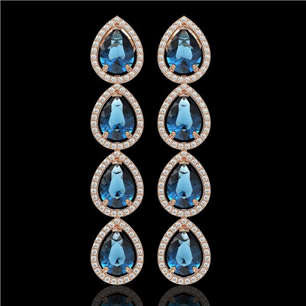 11.2 ctw London Topaz & Diamond Micro Pave Halo Earrings 10k Rose Gold - REF-172Y8X