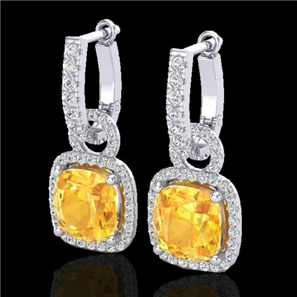 7 ctw Citrine & Micro Pave VS/SI Diamond Earrings 18k White Gold - REF-100F2M
