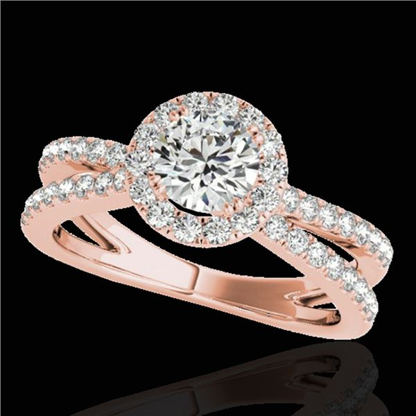 1.55 ctw Certified Diamond Solitaire Halo Ring 10k Rose Gold - REF-210H2R