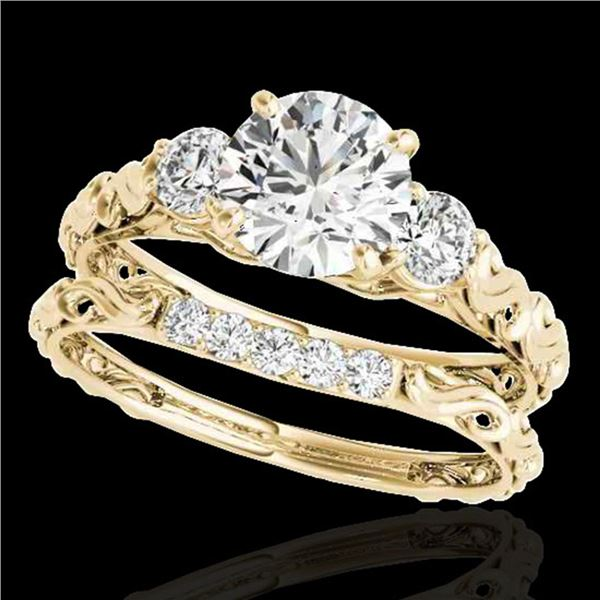 1.35 ctw Certified Diamond 3 Stone Ring 10k Yellow Gold - REF-177N3F