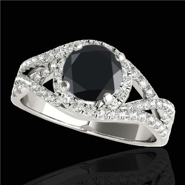 1.5 ctw Certified VS Black Diamond Solitaire Halo Ring 10k White Gold - REF-65G5W
