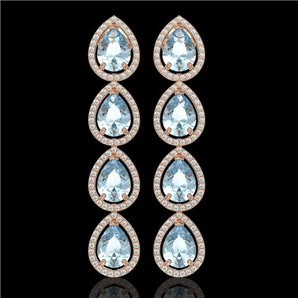 10.4 ctw Sky Topaz & Diamond Micro Pave Halo Earrings 10k Rose Gold - REF-172W8H