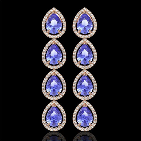 11.2 ctw Tanzanite & Diamond Micro Pave Halo Earrings 10k Rose Gold - REF-286X9A