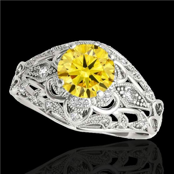 1.36 ctw Certified SI Intense Yellow Diamond Antique Ring 10k White Gold - REF-197H8R