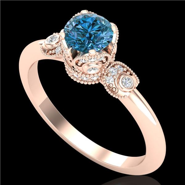 1 ctw Intense Blue Diamond Engagment Art Deco Ring 18k Rose Gold - REF-107N3F