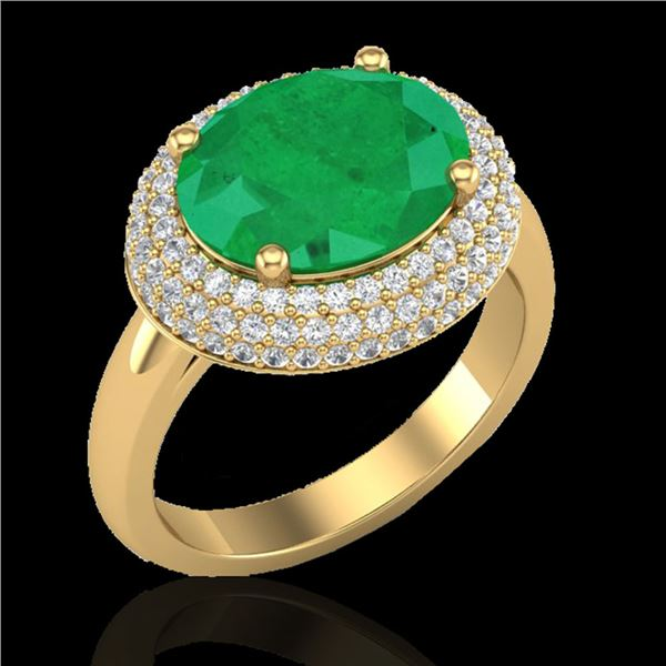 4.50 ctw Emerald & Micro Pave VS/SI Diamond Ring 18k Yellow Gold - REF-119H6R
