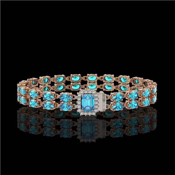 17.24 ctw Swiss Topaz & Diamond Bracelet 14K Rose Gold - REF-236N4F