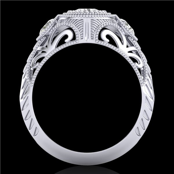 1.06 ctw VS/SI Diamond Solitaire Art Deco 3 Stone Ring 18k White Gold - REF-180R2K