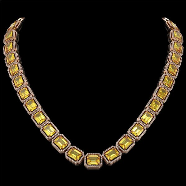 77.35 ctw Fancy Citrine & Diamond Micro Pave Halo Necklace 10k Rose Gold - REF-737R3K
