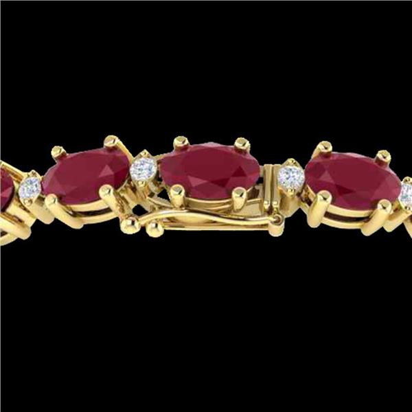 23.5 ctw Ruby & VS/SI Certified Diamond Eternity Bracelet 10k Yellow Gold - REF-143R6K