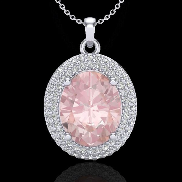 4.50 ctw Morganite & Micro Pave VS/SI Diamond Necklace 18k White Gold - REF-157Y6X