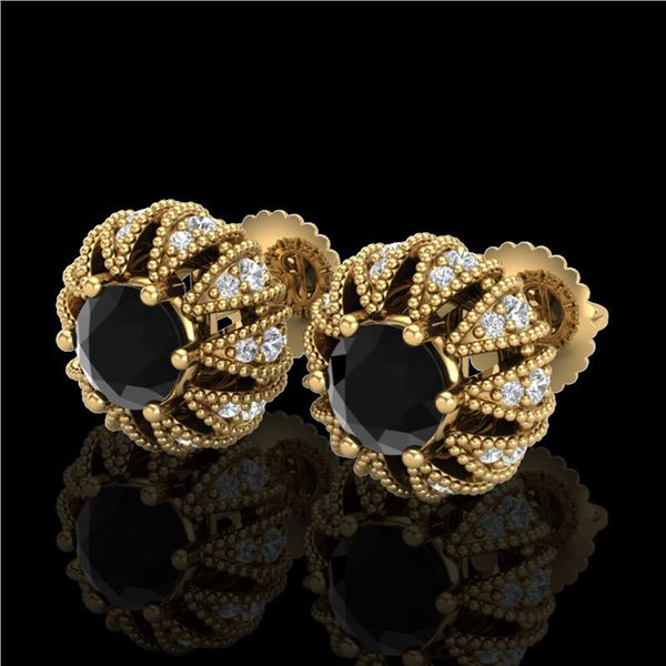 2.01 ctw Fancy Black Diamond Art Deco Micro Pave Earrings 18k Yellow Gold - REF-143G6W