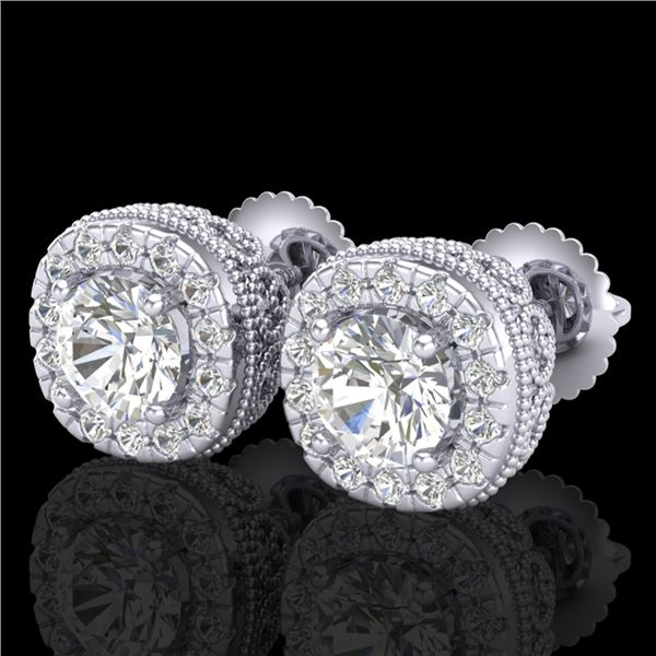 1.69 ctw VS/SI Diamond Solitaire Art Deco Stud Earrings 18k White Gold - REF-263H6R