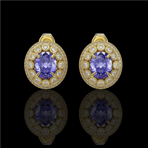 9.06 ctw Tanzanite & Diamond Victorian Earrings 14K Yellow Gold - REF-286K8Y