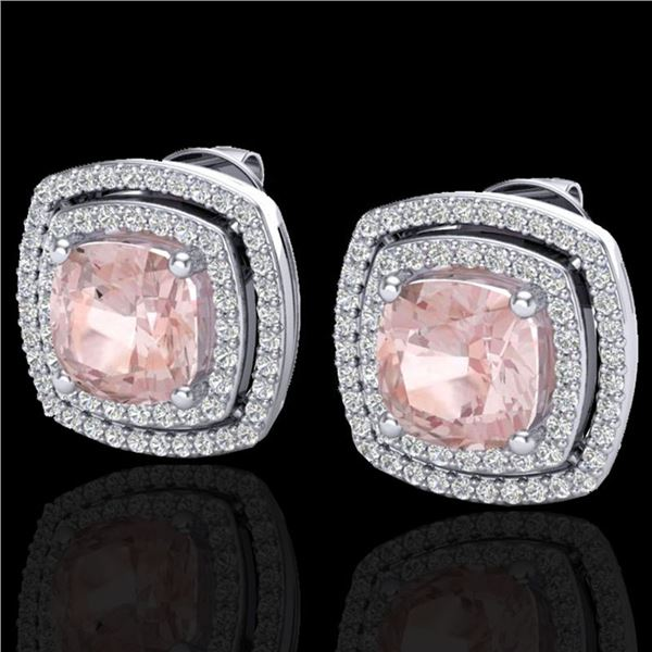 3.95 ctw Morganite & Micro Pave VS/SI Diamond Earrings 18k White Gold - REF-129R6K