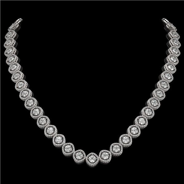 29.37 ctw Cushion Cut Diamond Micro Pave Necklace 18K White Gold - REF-3956K6Y