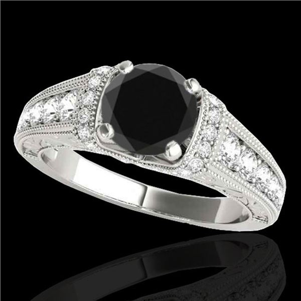 1.75 ctw Certified VS Black Diamond Solitaire Antique Ring 10k White Gold - REF-66Y8X