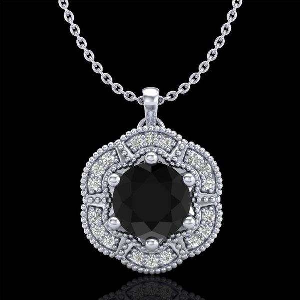 1.01 ctw Fancy Black Diamond Art Deco Stud Necklace 18k White Gold - REF-80Y2X