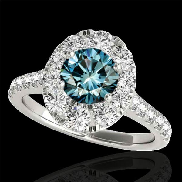 2 ctw SI Certified Blue Diamond Solitaire Halo Ring 10k White Gold - REF-158F2M
