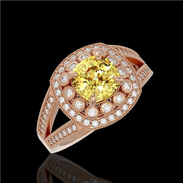 2.09 ctw Canary Citrine & Diamond Victorian Ring 14K Rose Gold - REF-83R6K