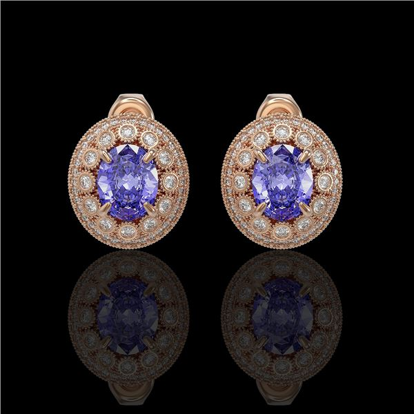 9.06 ctw Tanzanite & Diamond Victorian Earrings 14K Rose Gold - REF-286H8R
