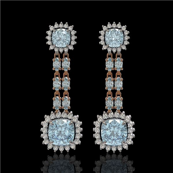 19.64 ctw Sky Topaz & Diamond Earrings 14K Rose Gold - REF-222K5Y
